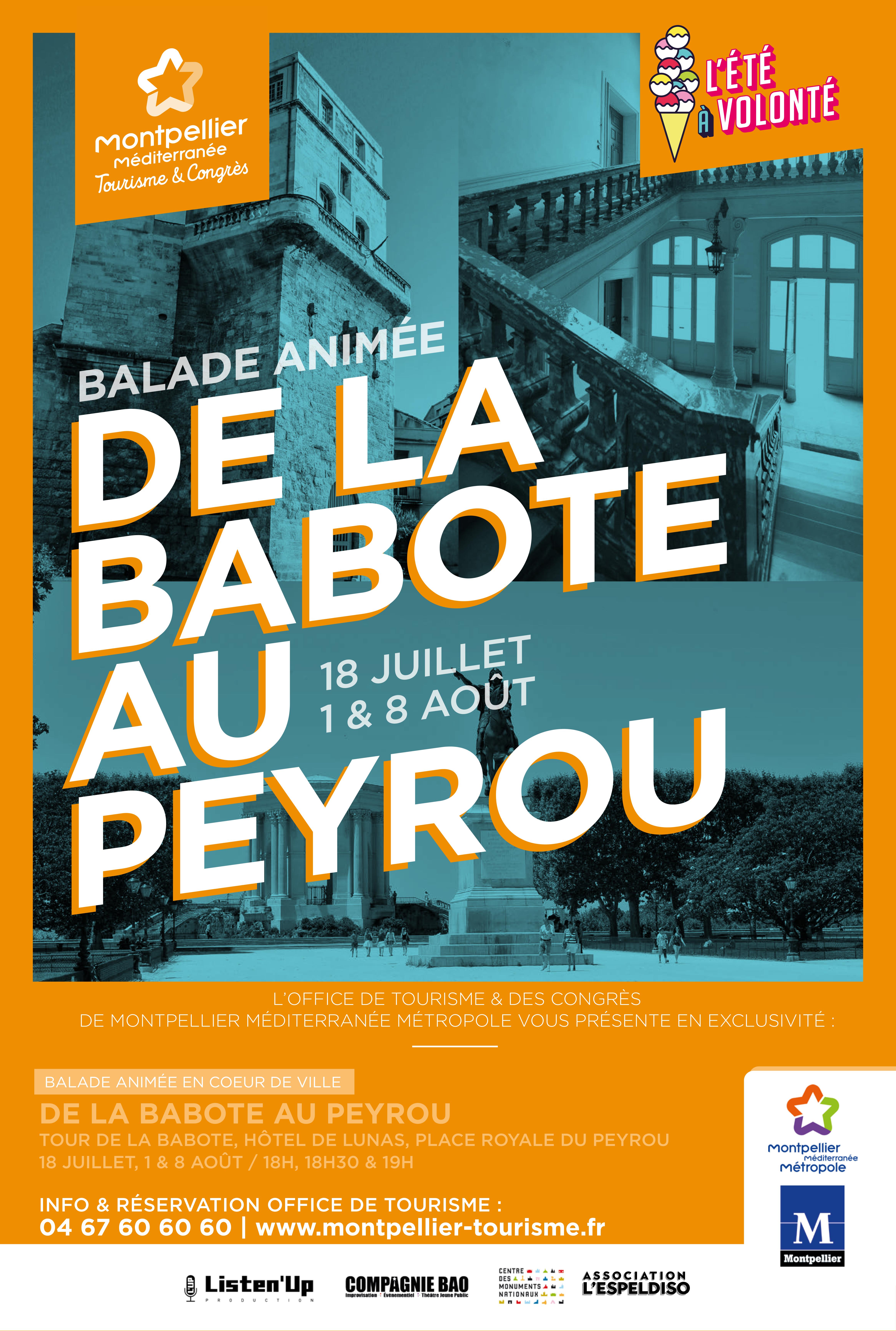 Affiche Balade animée de la Babote au Peyrou à Montpellier